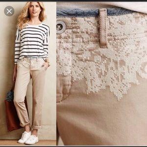 Anthropologie embroidered khaki pant